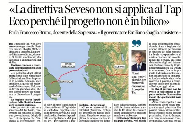 Intervista Prof. Francesco Bruno: «La direttiva Seveso non si applica al Tap. Ecco perché il progetto non è in bilico». Intervista al Corriere del Mezzogiorno (20 dicembre 2017)